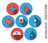 medicine icon flat set. world...
