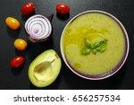 zucchini cream soup and fresh... | Shutterstock . vector #656257534