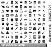 100 hi school icons set in... | Shutterstock .eps vector #656257804