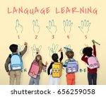 sign language number... | Shutterstock . vector #656259058