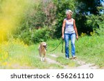 mature woman hiking with a... | Shutterstock . vector #656261110