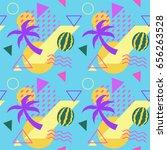 seamless color summer fruit... | Shutterstock .eps vector #656263528