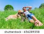mature woman lying with a... | Shutterstock . vector #656289358