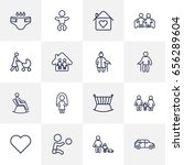 set of 16 family outline icons... | Shutterstock .eps vector #656289604