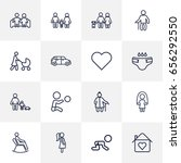 set of 16 people outline icons... | Shutterstock .eps vector #656292550