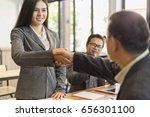 business partnership handshake... | Shutterstock . vector #656301100
