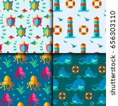 seamless vector patterns with...   Shutterstock .eps vector #656303110