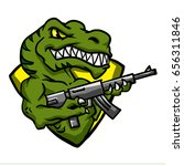 dinosaur with machine gun emblem | Shutterstock . vector #656311846