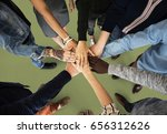 group of people holding hand... | Shutterstock . vector #656312626