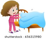 little girl making bed... | Shutterstock .eps vector #656315980