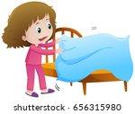 little girl making bed... | Shutterstock .eps vector #656315980