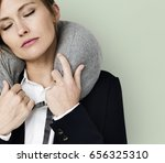 caucasian woman travel pillow... | Shutterstock . vector #656325310