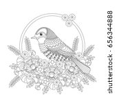 fantasy bird in flowers.... | Shutterstock . vector #656344888
