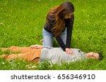 beautiful woman giving first...   Shutterstock . vector #656346910
