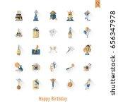 happy birthday icons set....   Shutterstock .eps vector #656347978