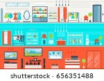 mall interior set in flat style ... | Shutterstock .eps vector #656351488