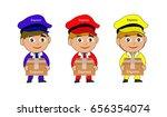 boy messenger boxes cartoon | Shutterstock . vector #656354074