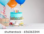 blue birthday cake  presents ... | Shutterstock . vector #656363344