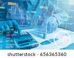 double exposure business people ... | Shutterstock . vector #656365360