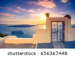 amazing evening view of fira ... | Shutterstock . vector #656367448