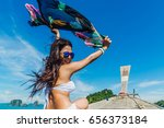 woman holding floating fabric... | Shutterstock . vector #656373184