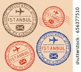 istanbul mail stamps collection.... | Shutterstock . vector #656377510