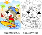 surfing time with little bear ... | Shutterstock .eps vector #656389420