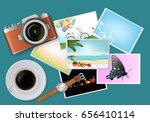 photo is placed on the desk ... | Shutterstock .eps vector #656410114