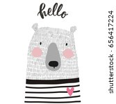 cute card with hand drawn bear | Shutterstock .eps vector #656417224