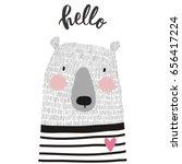 Stock vector cute card with hand drawn bear 656417224