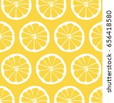lemon slice illustrated pattern ... | Shutterstock . vector #656418580