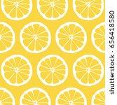 lemon slice illustrated pattern ... | Shutterstock . vector #656418580