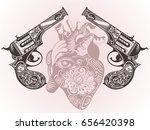 tattoo guns with heart | Shutterstock .eps vector #656420398