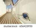 yacht teak deck with opening to ... | Shutterstock . vector #656423950