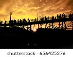 mon bridge is wood bridge at ... | Shutterstock . vector #656425276