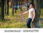 indigenous man standing with... | Shutterstock . vector #656433790