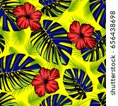 seamless tropical pattern with... | Shutterstock .eps vector #656438698