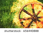 burning wooden wheel katitsya ...   Shutterstock . vector #656440888