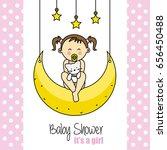 baby shower card. baby girl... | Shutterstock .eps vector #656450488
