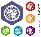 asian salad icons set hexagon... | Shutterstock . vector #656453179