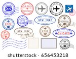 collection of colored postal... | Shutterstock . vector #656453218