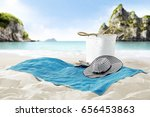 free space on towel on sand and ... | Shutterstock . vector #656453863