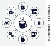 caffeine icons set. set of 9...   Shutterstock .eps vector #656458363