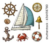 set sailing ship. anchor  wheel ... | Shutterstock .eps vector #656458780