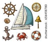 set sailing ship. anchor  wheel ... | Shutterstock .eps vector #656458780