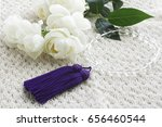 white roses and crystal beads | Shutterstock . vector #656460544