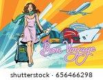 beautiful woman passenger... | Shutterstock .eps vector #656466298