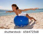 woman on a beautiful beach who... | Shutterstock . vector #656472568