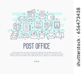 post office concept with thin... | Shutterstock .eps vector #656473438