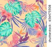 vector seamless tropical... | Shutterstock .eps vector #656475508
